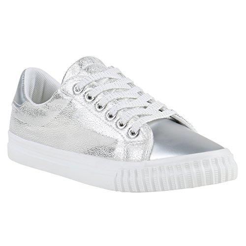 Glänzende Damen Sneakers Metallic Glitzer Pailletten Flats Turnschuhe Weiss Silber Weiss