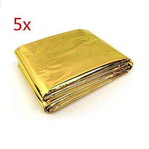 Rettungsdecke, Rettungsfolie, Notfalldecke, Erste- Hilfe- Decke, gold/ silber 5 Stück