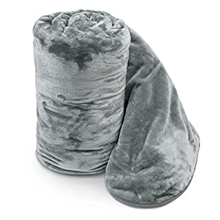 Ashley Mills Soft Luxury Faux Velvet Fur Mink Throw Over Sofa Bed Blanket Silver Grey Double 150x200cms