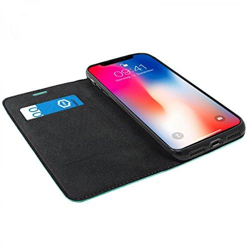 eFabrik Tasche für Apple iPhone X Hülle Book Cover Etui Schutztasche Schutz Slim Case, Farbe:Grün Türkis