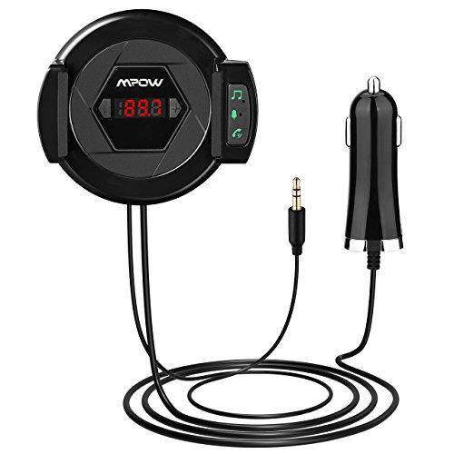 [2-In-1] FM Trasmettitore Bluetooth 4.1+ Air Vent Mount Cellulare Supporto, Mpow Trasmettitore FM da Auto con Microfono Incorporato 3.5mm Cavo Audio ,FM Trasmettitore Car Kit Per Musica e Chiamate in