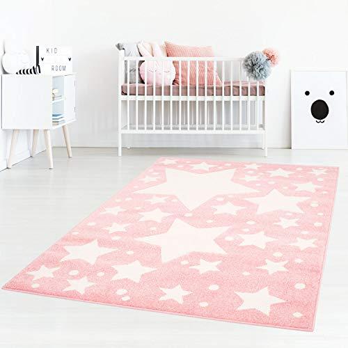 Taracarpet Kinderzimmer und Jugendzimmer Teppich Dreamland Kinderzimmerteppich Sterne rosa Creme 080x150 cm