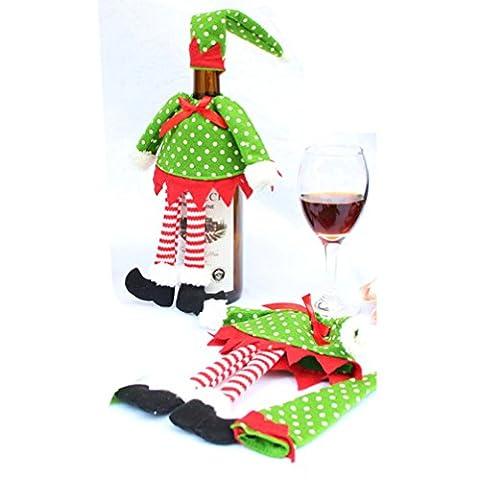 So-buts Décoration de Noël Fournitures Polka Dot/Stripe Housse Bouteille de Vin Rouge Sacs de Noël pour Home Party Décor Bouteille de Vin Rouge multicolore