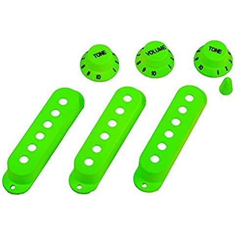 NUOLUX Strat Guitar Pickup Covers Knobs Switch Tip Set for Fender Stratocaster Replacement Accessory Kit Green