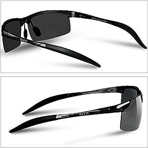 Duco Gafas de sol deportivas polarizadas para hombre con ultraligero y marco de metal irrompible, 100% UV400-8177S (Negro/Gris)