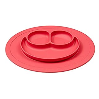 Addfun reg;2-in-1 Smile Baby Food Placemat,Non Slip Placemat with Divided Bowl,Kids Silicone Placemat Baby Suction Feeding Mat Food Tray Placemat All-In-One Tableware(Red)