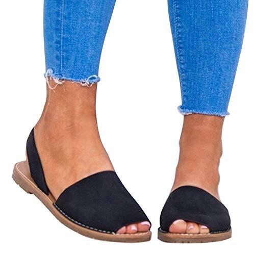 Minetom Damen Sommer Retro Flache Badesandale Sandalen Mode Peep Toe Flip Flop Zehentrenner Schuhe Frauen Übergröße Sommerschuhe Strandschuhe Schwarz EU 39