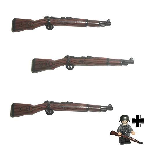 Custom Brick Design 3X K98k Karabiner Gewehr DR im WW2 Bi-Color Print V.3 - Soldaten Waffe für Lego Figuren