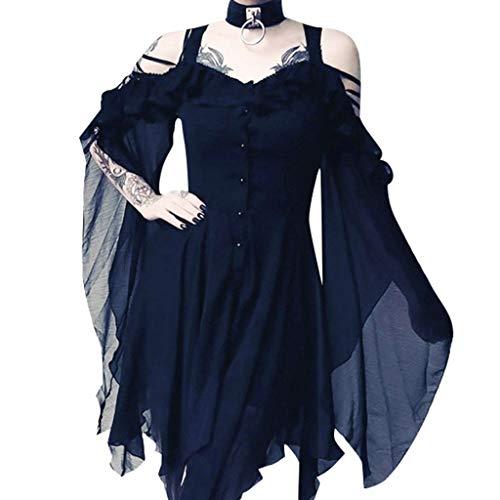 Writtian Halloween Damen Kleid Vintage Mittelalterlichen Gothic Kleid Cosplay Kleid mit Trompetenärmel Mittelalter Schulterfrei Asymmetrisch Party Kostüm Kleidung - Billige Selbstgemachte Kostüm