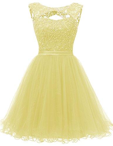 Dresstells Damen Kurz Tüll Party Kleider Rückenfrei Cocktail-Kleider Gelb