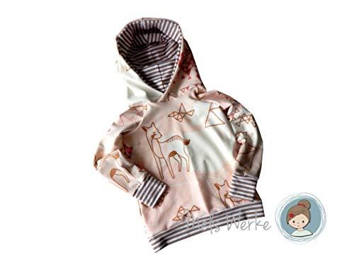 Hoodie Gr. 104 aus leichtem Sweat in beige mit Glitzerelementen, kombiniert mit Streifenjersey in beige-weiß. 95% Baumwolle, 5% Elasthan Weiß Terry Hoodie