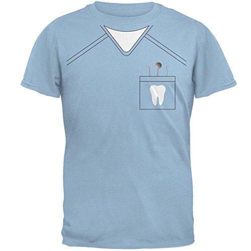 Halloween Zahnarzt Scrubs Kostüm Licht blauen Erwachsenen T-Shirt-X-Large