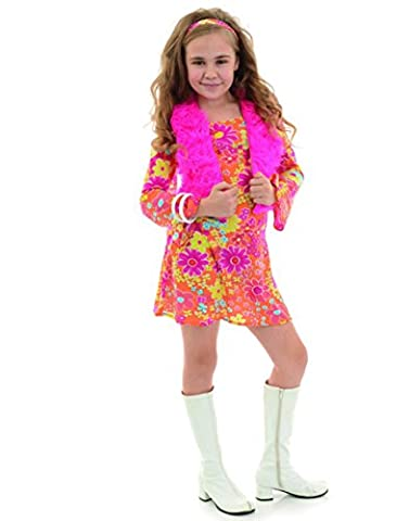 Girl Costume Hippie - Underwraps Hippie Diva With Vest Girls Costume
