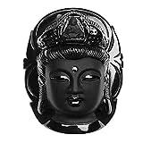 MXECO Hommes Femmes Vintage Noir Couleur Guanyin Pierre Naturelle Obsidienne Sculptée Kwan-Yin Tête Pendentif Bijoux Chanceux pour Cadeau YAHALOU