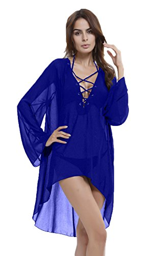 Honeystore Damen Solide übergroß Strandponcho Sommer Kleid Bikini Cover Up Blau