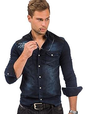 Tazzio Herren Jeans Hemd Denim Jeanshemd Hemden Herrenhemd Langarm Shirt