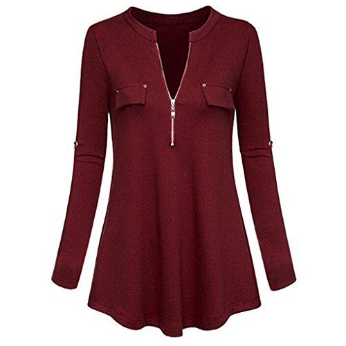 UFACE Damen V-Ausschnitt Langarm-Roll-Sleeve Zip-up-Shirt Oben Casual Womens V-Ausschnitt Langarm Roll-up-Ärmel Zipper Shirt Bluse Tops(Wein,EU/40CN/S