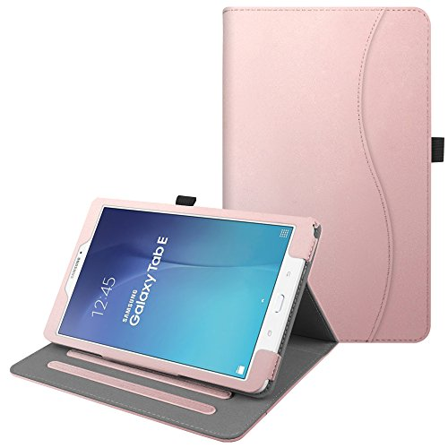 Fintie Hülle für Samsung Galaxy Tab E 9.6 T560N / T561N (9,6 Zoll) Tablet-PC - Multi-Winkel Betrachtung Kunstleder Schutzhülle Etui mit Dokumentschlitze & Auto Schlaf/Wach Funktion, Roségold