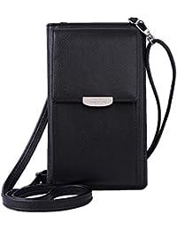 3029824c127fac Damen PU Leder Lange Brieftasche mit Blatt Anhänger Kartenhalter  Handytasche Mädchen Reißverschluss Geldbörse Gross Capacity