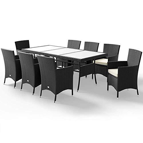Casaria Poly Rattan Sitzgarnitur Schwarz Dicke Auflagen 8 Stühle & 1 Tisch Milchglas Sitzgruppe Gartenmöbel Garten Set