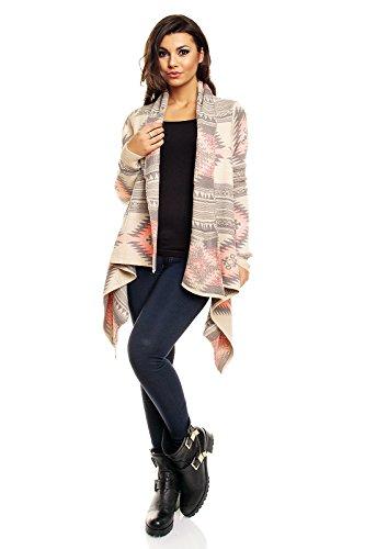 Luzabelle -  Cardigan  - Donna Giallo-grigio-rosa
