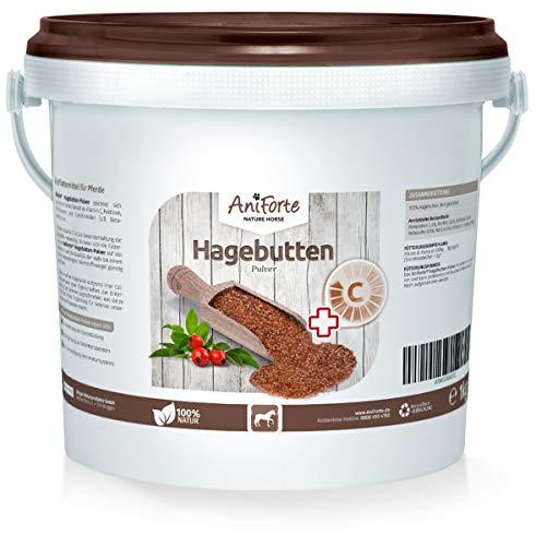 AniForte Hagebuttenpulver 1kg für Pferde - Natürliches Gelenkpulver, Gelenkfunktion & Immunsystem stärken, wichtige Vitamine & Pflanzenstoffe für Abwehrkräfte, Antioxidantien -