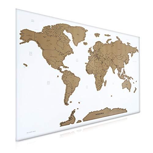 Navaris Scratch Off World Map Poster English - 82 x 59 cm Weltkarte zum Rubbeln - Rubbelkarte Landkarte mit Rubbelchip - Rubbel Karte in Weiß (Weltkarte Sprachen)