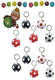 10 x Fussball Schluesselanhaenger mit LED-Lampe in 4 Farbkombinationen + 10 Fußball Kaugummis