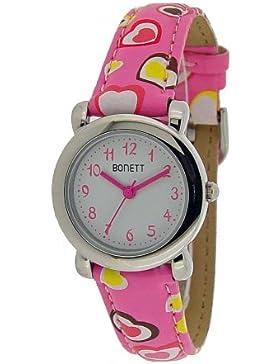 Bonett Mädchen-Armbanduhr Analog Quarz Herz Rosa 1289P