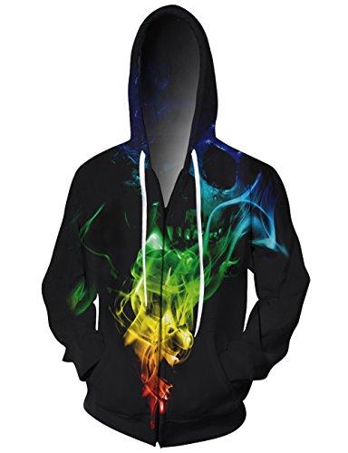 uideazone Frauen Mens Coole Zipper Hoodie 3D Print Schädel Bunte QSL-Fitness-Studio-Mantel Jacke Plus - Plus Size Herren-winter-mäntel