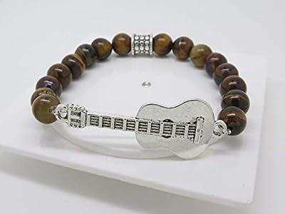 BRACELET GUITARE EN œil du tigre idée cadeau guitariste papa, mari, ami, frère. F de Bm créations