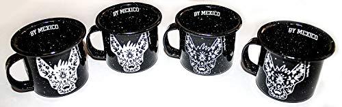 Espressotassen oder Tequila-Shots, Set aus 4 emaillierten Kaffeetassen - Mexikanischer Hund Xolo Mini Tassen - Xolo Tassen - Tazas de Luchador xoloescuincle
