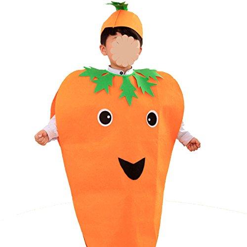 GEXING Halloween Kürbiskostüm Fruchtkleidung Kinder Leistung Kleidung Umweltfreundliche Kleidung Eine Packung Mit 3,Carrot-90-135CM (Birnen Erwachsene Kostüme)