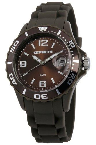CEPHEUS CP603-095 - Reloj analógico de cuarzo para mujer, correa de silicona color marrón