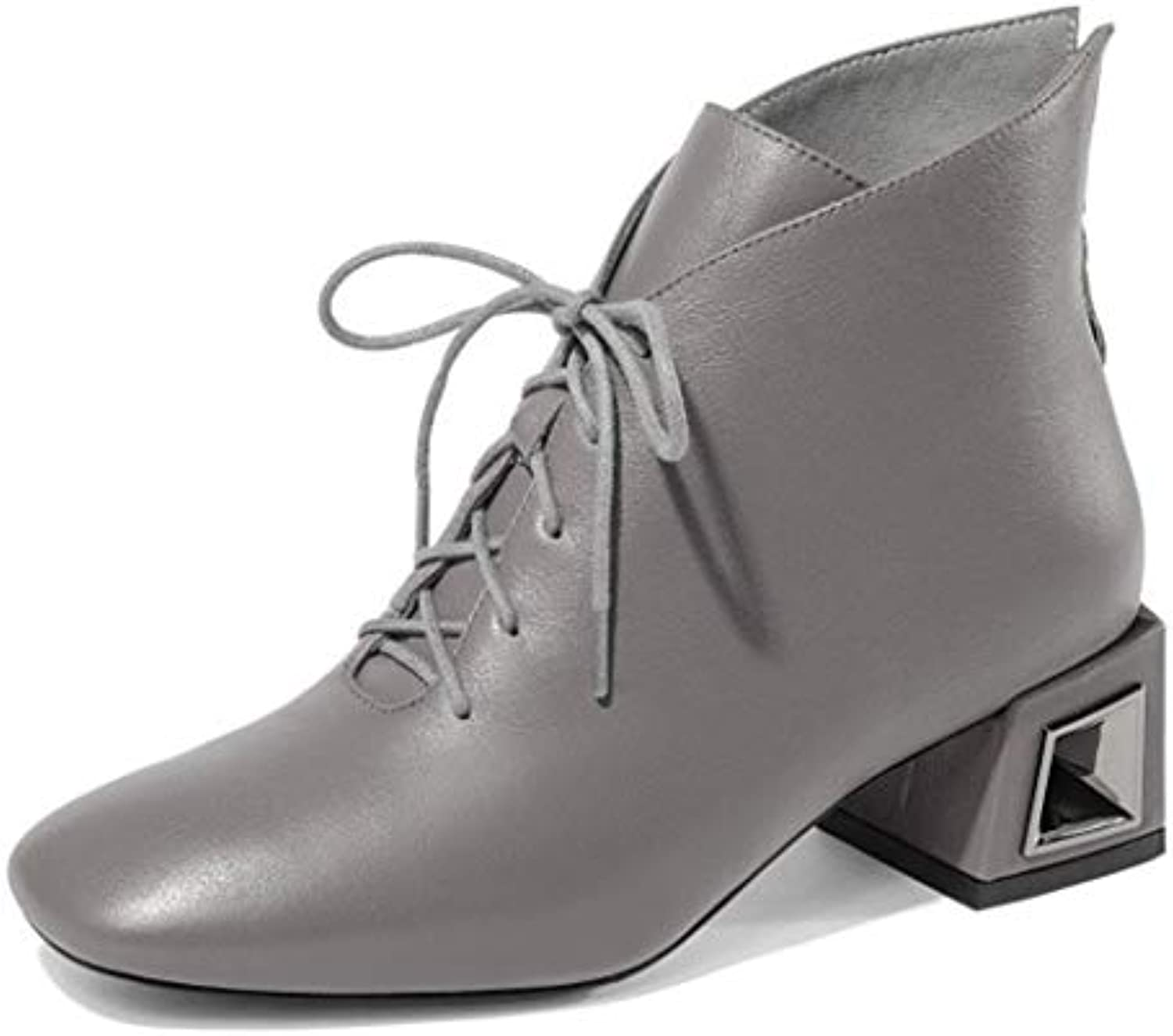 4c3b7ad8d07e RLYAY Women s High Heels Warm Lacing Ankle Boots Casual Work Work Work Shoes  Black Gray B07GVCBN3R Parent 245b8f