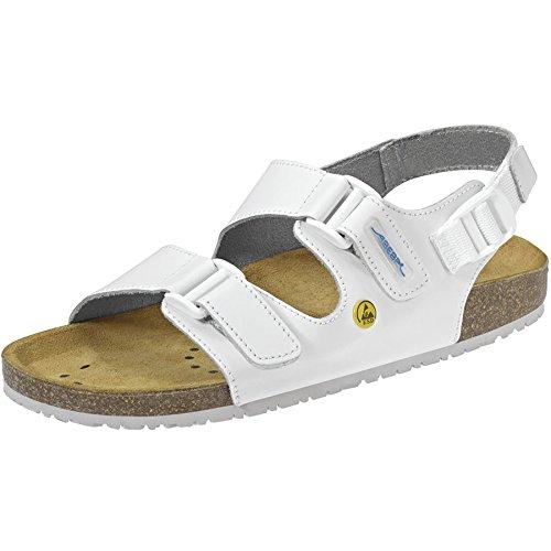 ABEBA ESD Chaussures de travail Berufsschuh 4090 blanc sans métal, Brides de coup-de-pied, Sangle de talon, CE EN ISO 20347:2012 OB A, FO SRC Blanc