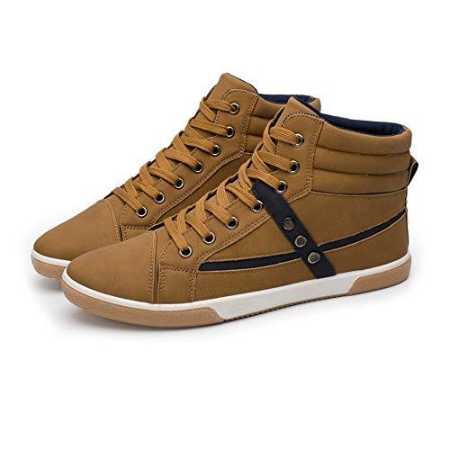 Scarpe da Ginnastica Sneakers Alte da Uomo di Alta Moda in Pelle Morbida Suola in Gomma Scarpe da Skate da Strada Scarpe Sportive Scarpe Sportive (Color : Marrone, Dimensione : 42 EU)