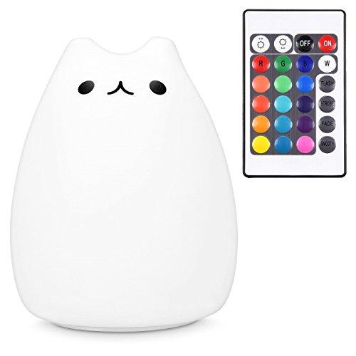 Navaris LED Nachtlicht Katze Design - Fernbedienung Micro USB Kabel - Süße RGB Farbwechsel Kinder Nachttischlampe - Kätzchen Schlummerlicht Weiß - Katze