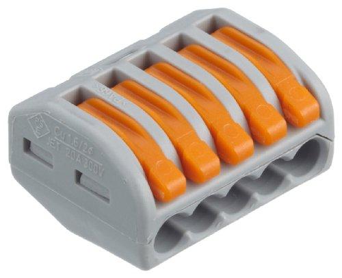 Wago Verbindungsklemme 5-polig 222-415 grau - mit Betätigungshebeln - 0,08 - 4 mm² - VPE = 40 Stücke