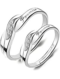 dc jewels Silver Plated King and Queen Valentine Adjustable Promise Rings for Men and Women