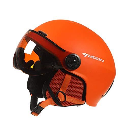 circulor Casque De Ski d'hiver Léger pour Sports d'hiver, Snow Sports Helmet with PC Goggles Casque Unisexe avec Noir/Blanc/Bleu/Orange, Le Casque avec Ceinture Ajus