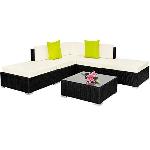 tectake alluminio set di mobili rattan arredamento giardino completo incl. morsetti - disponibile in diversi colori - (nero | no. 402114)