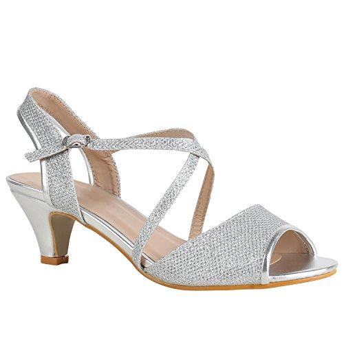 Stiefelparadies Damen Schuhe Riemchensandaletten Lack Glitzer Sandaletten Party 157231 Silber Glitzer 38 Flandell