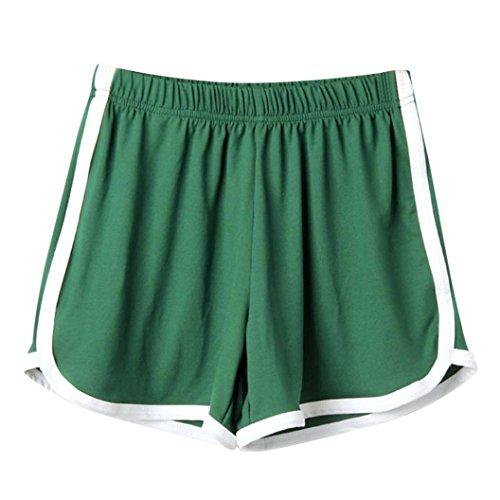 SHOBDW Las Mujeres de Moda señora de la Cintura elástica Verano sólido hasta la Rodilla cómodos Pantalones Cortos Deportivos Pantalones Casuales de Playa (M, Verde)