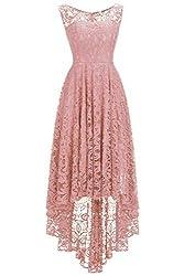 Babyonlinedress Damen Ärmellos Spitzenkleid U-Boot Ausschnitt Abendkleid Brautjungfernkleid Größe Größen 32-56, Altrosa, 32