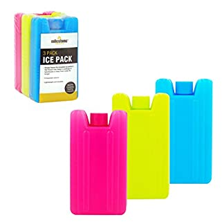 Milestone Camping Camping 25160 Mini Ice Cooler Blocks ~ Pack of 3, Pink/Blue/Lime Green, H10.5 x W5.5 x D2.2cm 12