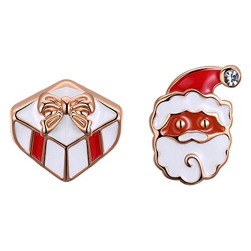 Streetregion Weihnachtsgeschenk Santa Claus und Geschenk-Box Ohrstecker Ohrring (Rose) (Santa Geschenk-box)