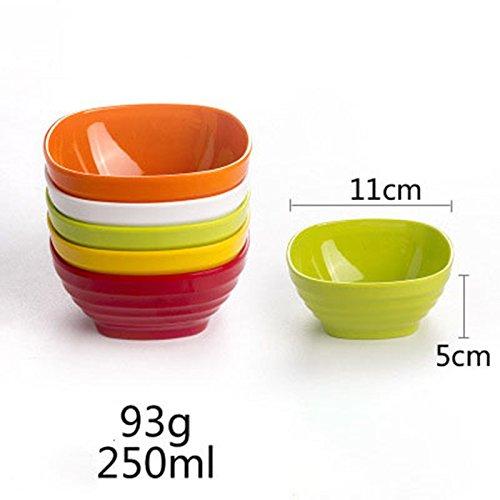 Bol à assaisonnement en plastique coloré et bol à riz en 5 couleurs assorties