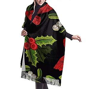JJsister Bufandas de Mujer,Bufanda Chales para Mujer, Christmas Tree Yew Art Gift Womens Scarf Large Soft Silky Pashmina Cashmere Shawl Wrap