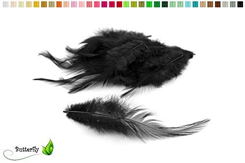3g Hahnenkreuz Federn ca. 10-15cm (schwarz 030)//Dekofedern Bastelfedern Federn Hahn Natur Schmuckfedern Vogelfedern Hahnenfedern